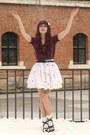 White-handmade-skirt-maroon-new-yorker-top-ivory-h-m-accessories
