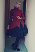 maroon FanPlusFriend coat - black lolita self-made skirt - black vagabond heels