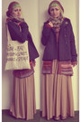Maroon-c-a-sweater-off-white-diy-bag-beige-bershka-skirt