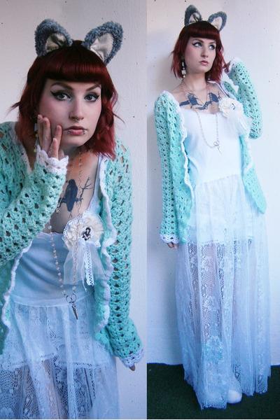 white DIY dress - white bloomers DIY shorts - aquamarine crochet DIY cardigan
