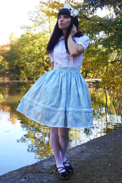 light blue lolita handmade RABBIT HEART shop skirt - black An-tai-na shoes
