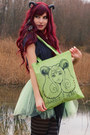 Chartreuse-tote-bag-rabbit-heart-shop-bag-lime-green-tulle-diy-skirt