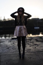 peach asos skirt - black litas Jeffrey Campbell boots