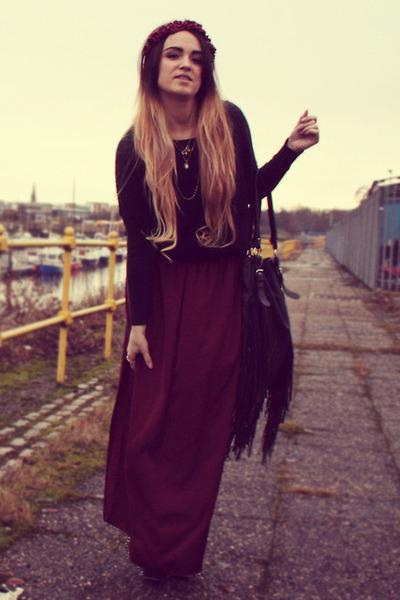 crimson silk maxi Zara skirt - black tassel Topshop bag