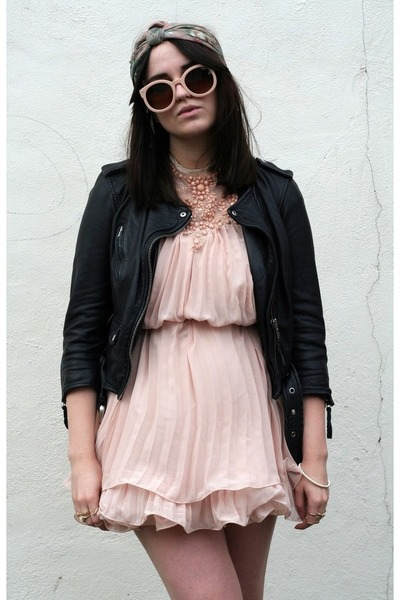 black biker All Saints coat - pink Choies dress