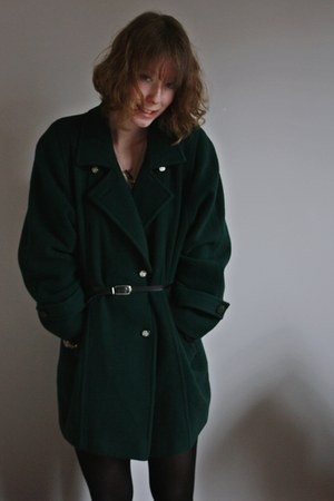 forest green thrifted coat - black H&amp;M tights - black thrifted belt - gold cameo