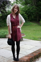maroon shirt H&M dress - black bowler hat - cream thrifted cardigan - brick red 
