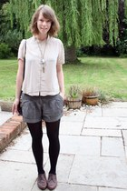 pomander thrifted necklace - new look shoes - vintage bag - Topshop shorts