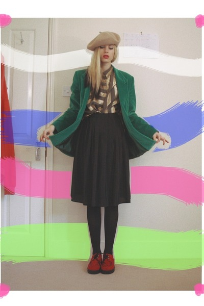 thrifted blazer - thrifted shirt - thrifted skirt