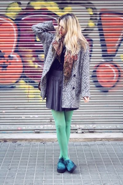 aquamarine H&M tights - H&M shoes - vintage coat - charcoal gray Zara skirt