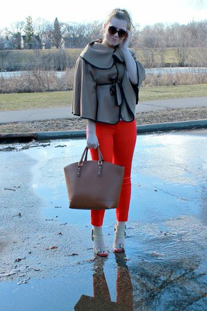 camel tbdress coat - red JCPenney pants - beige Shoedazzle heels