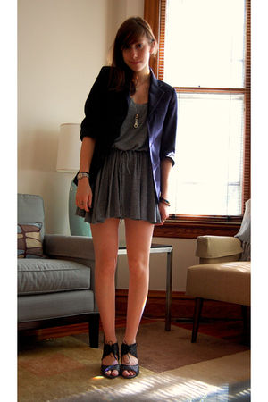 gray American Apparel dress - blue stolen from brother blazer - gray Aldo shoes