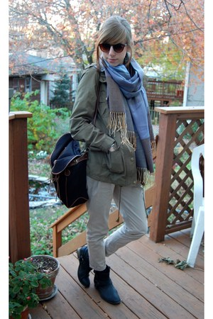 army green H&M jacket - black UO boots - black UO bag - 80spurple sunglasses
