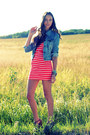 Salmon-forever-21-dress-sky-blue-denim-oasap-jacket