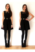 black OASAP boots - black Loef dress