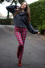 Burnt-orange-new-look-boots-ruby-red-tartan-h-m-jeans-dark-gray-asos-jumper
