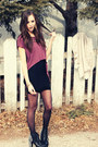 Purple-club-couture-top-jeffrey-campbell-boots-black-club-couture-skirt