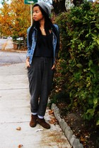 gray H & M pants - tawny Minnetonka shoes - charcoal gray American Apparel shirt