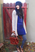 blue dress - bronze NY boots - black vintage hat - ruby red vintage bag