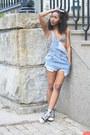 Sky-blue-levis-shorts-white-see-thru-tank-american-apparel-top