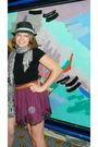 Purple-forever-21-skirt-flea-market-scarf-gray-forever-21-hat-black-foreve