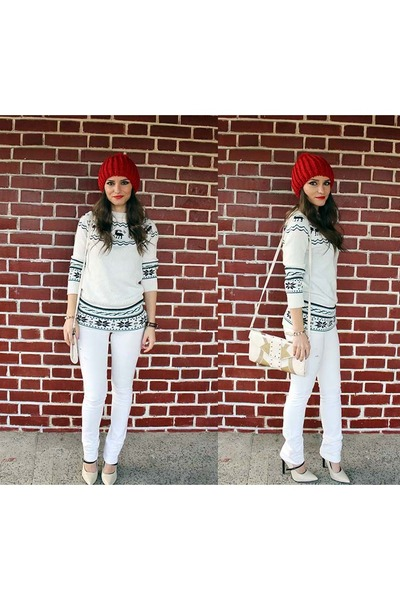 white OASAP sweater - red Everbuying hat - ivory dresslily heels