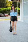 blue denim romwe shirt - black OASAP bag - black leather sammydress shorts