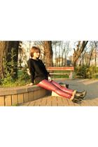 black romwe sweater - black romwe bag - brick red Chicisimo pants