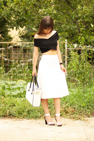 white nannys closet skirt - white milanoo bag - black milanoo top