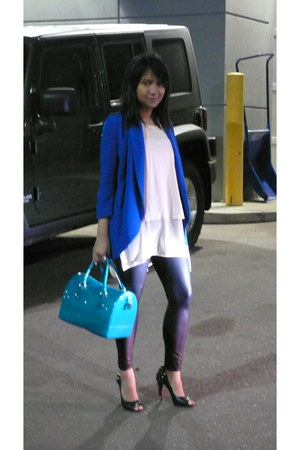 blue wilfred blazer - black Forever 21 leggings - teal candy bag Furla bag