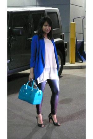blue wilfred blazer - black Forever 21 leggings - teal candy bag Furla bag