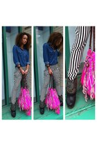denim shirt Mango shirt - studs sam edelman boots - zebra stipes boutique pants