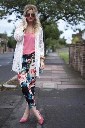 white lace coat Quiz jacket - bubble gum heels Primark shoes