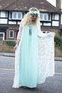 Aquamarine-missguided-dress-white-kimono-missguided-cardigan