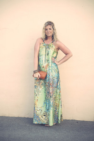 chartreuse maxi sugarhoney dress - orange clutch dune bag