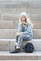 heather gray jewelled beanie Forever 21 hat - black studded Office boots