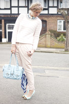aquamarine fm boutiuqe blouse - light blue boutique bag - light pink H&M jumper