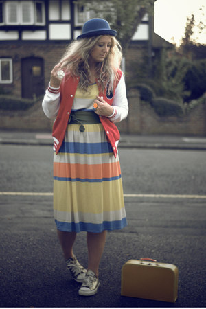 yellow Primark dress - red Primark coat - blue bowler hat H&amp;M hat