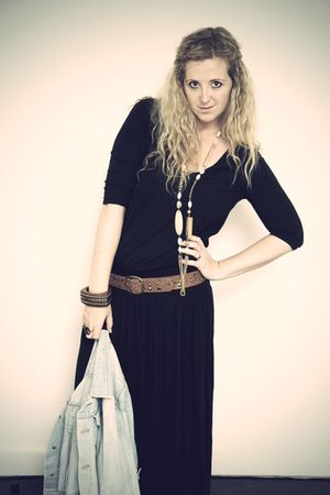 black Primark dress - blue H&amp;M jacket - gold River Island necklace - brown H&amp;M b