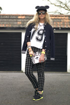 black Ebay hat - white varsity Boohoo top - black checked asos pants