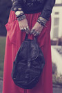 Carrot-orange-maxi-verycouk-skirt-black-biker-h-m-jacket