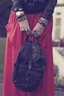 Carrot-orange-maxi-verycouk-skirt-black-biker-h-m-jacket