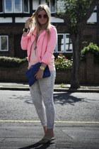 bubble gum neon Zara jacket - blue snake print River Island jeans