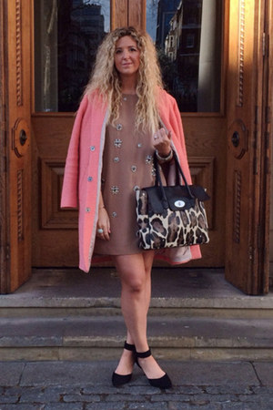 light brown H&M Trend dress - salmon Topshop coat - black Primark heels