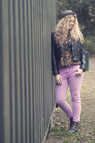 black studded bronx boots - bubble gum new look jeans