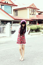 red Harajuku dress - white Kitschen cardigan - bubble gum Doss flats
