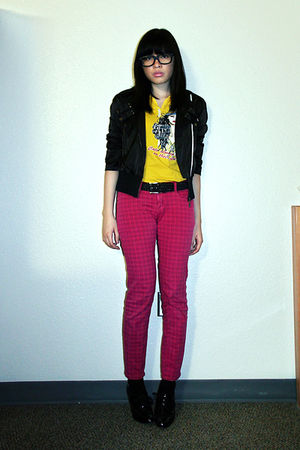 black Tomato jacket - gold landmark shirt - pink divisoria pants - black thrifte
