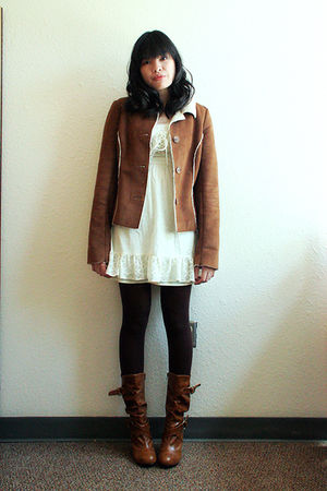 brown factory outlet jacket - beige Target dress - brown Target tights - brown R
