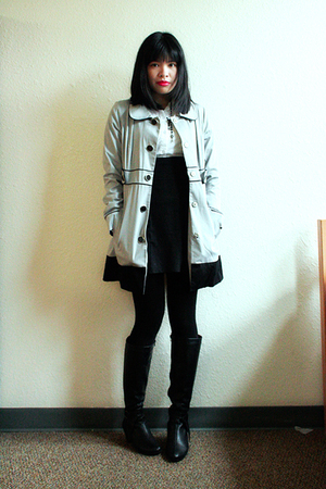 blue Susto coat - white Charlotte Russe top - black SM skirt - black aerosoles b