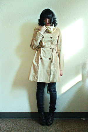 beige Old Navy coat - blue BDG jeans - brown JCpenney shoes - beige Target scarf